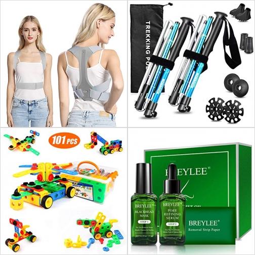 [Amazon折扣碼] 姿勢矯正帶, 折疊式登山杖, 組合玩具, 茶樹油去黑頭面膜組 額外折扣!