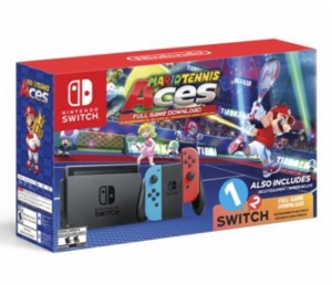 ihocon:  Nintendo Switch System, Neon Blue & Neon Red with Mario Tennis Aces & 1-2-Switch, HACSKABW1