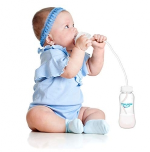ihocon: Tinukim Hands Free Baby Bottle - Anti-Colic Nursing System, 9 Ounce (Set of 2 - White) 免持奶瓶