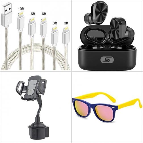 [Amazon折扣碼] iPhone充電線, 真無線耳機, 汽車手機固定架, 兒童軟式太陽眼鏡-多色可選 額外折扣!