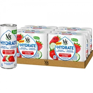 ihocon: V8 +Hydrate Plant-Based Hydrating Beverage, Strawberry Cucumber, 8 oz. Can (4 packs of 6, Total of 24)