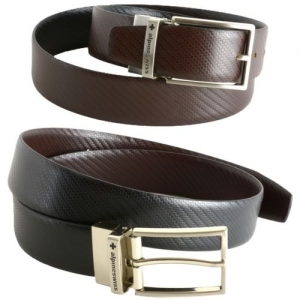 ihocon: Alpine Swiss Men's Dress Belt Reversible Black Brown Leather Imported from Spain男士黑色/棕色雙面皮帶