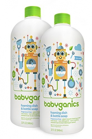ihocon: Babyganics Foaming Dish and Bottle Soap Refill, Fragrance Free, 32oz Bottle (Pack of 2) 泡沫洗碗精