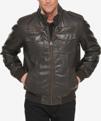 ihocon: Levi's Men's Faux-Leather Aviator Bomber Jacket with Fleece Lining