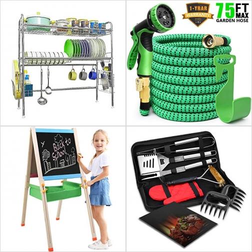 [Amazon折扣碼] 雙層水槽置碗架, 伸縮澆花水管, 雙面兒童畫架, BBQ烤肉工具 額外折扣!