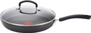 ihocon: T-fal Ultimate Hard Anodized Scratch Resistant Titanium Nonstick Thermo-Spot Heat Indicator with Glass Lid, 12-Inch,防刮含蓋不粘鍋