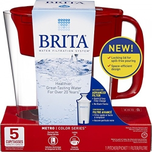 ihocon: Brita Small 5 Cup Metro Water Pitcher with Filter - BPA Free - Red濾水壺