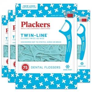 ihocon: Plackers Twin-Line Dental Floss Picks, 75 count (Pack of 4) 牙線 75支/包, 共4包