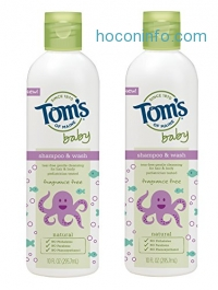 ihocon: Tom's of Maine Natural Baby Shampoo and Wash, Fragrance Free, 10 Ounce, 2 Count