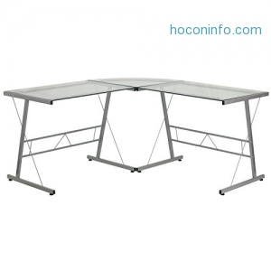 ihocon: Flash Furniture Glass L-Shape Computer Desk with Silver Frame Finish電腦桌