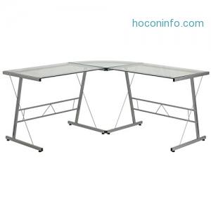 ihocon: Flash Furniture Glass L-Shape Computer Desk with Silver Frame Finish電腦桌
