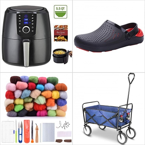 [Amazon折扣碼] 5.5 QT氣炸鍋, 男鞋/女鞋, 羊毛氈手作kit, 折疊推/拉車 額外折扣!