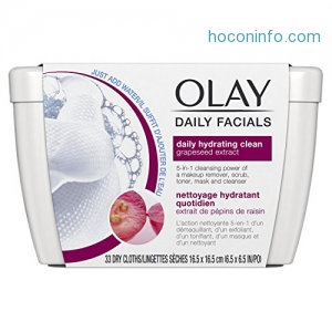ihocon: Eye Makeup Remover Wipes by Olay Daily Facials, Soap-Free Cleanser Cloths, 33 Count (Pack of 3) Packaging may Vary