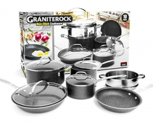 ihocon: Granite Rock 10 Piece Nonstick Ultra Durable Complete Cookware Set不沾鍋組