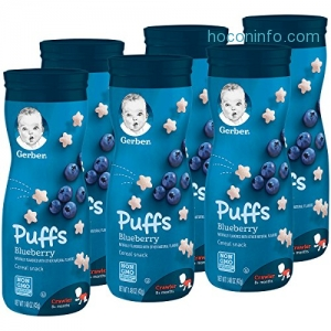 ihocon: Gerber Graduates Puffs Cereal Snack, Blueberry, Naturally Flavored, 6 Count