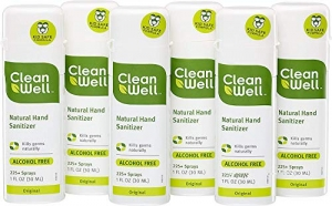 ihocon: CleanWell Natural Hand Sanitizer Spray - Original Scent, 1 Ounce (Pack of 6) 天然洗手噴霧