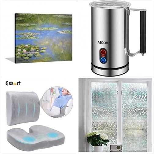 [Amazon折扣碼] DIY壁畫, 電動奶泡機, 記憶棉椅墊及背墊, 窗戶玻璃半透明膠膜 額外折扣!