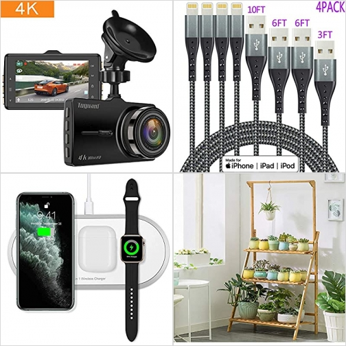 [Amazon折扣碼] 行車記錄器, iPhone充電線, 3合1 無線充電器, 三層竹製花架 額外折扣!