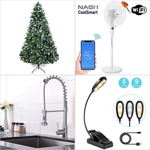 [Amazon折扣碼] 聖誕樹, 智能電扇, 廚房水龍頭, 夾式充電書燈 額外折扣!