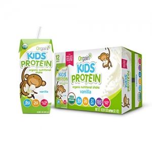 ihocon: Orgain Kids Protein Organic Nutritional Shake, Vanilla, Gluten Free, Kosher, Non-GMO, 8.25 Ounce, Pack of 12  兒童有機營養奶昔