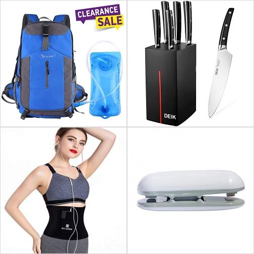 [Amazon折扣碼] 40L背包含2L水袋, 刀組, 束腰帶, 小型封口機 額外折扣!