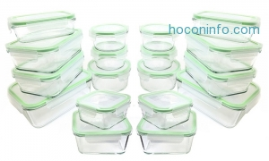 ihocon: Kinetic GoGreen Oven Safe Glass Food Storage Set (36-Piece)玻璃保鮮盒