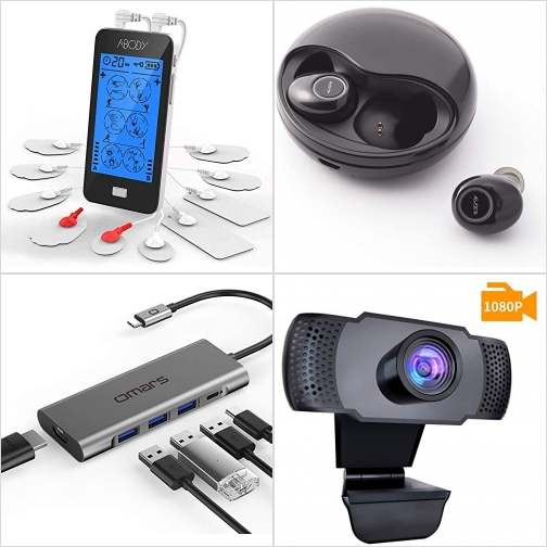 [Amazon折扣碼] TENS止痛儀, 真無線耳機, USB C Hub, Webcam 額外折扣!