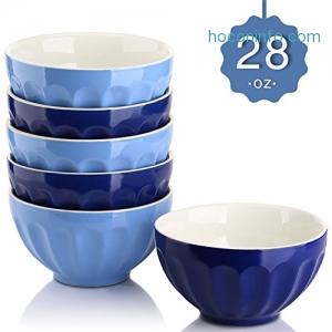 ihocon: Dowan 28 Oz. Porcelain Bowls Set (Assorted Colors), Set of 6