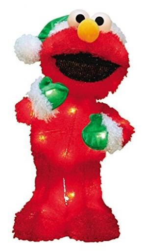 ihocon: ProductWorks 18-Inch Pre-Lit Sesame Street Elmo Christmas Yard Decoration 18吋芝麻街Elmo聖誕節裝飾