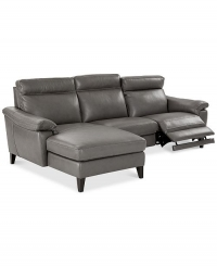 ihocon: Pirello 3-Pc. Leather Sectional Sofa With Chaise, 1 Power Recliner with Power Headrest and USB Port