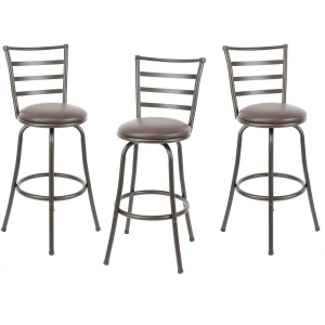 ihocon: Mainstays Adjustable-Height Swivel Barstool, Set of 3 可調高度旋轉吧台椅/高腳椅