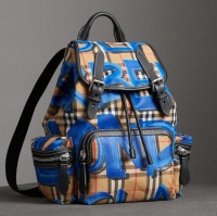 ihocon: Burberry Medium Rucksack in Graffiti Print Vintage Check