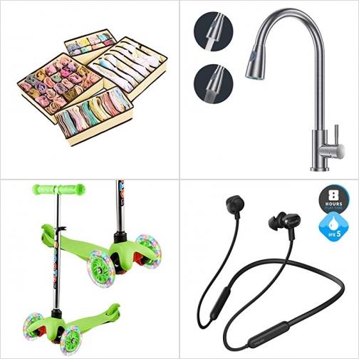 [Amazon折扣碼] 衣物/小物收納盒, 廚房水龍頭, 三輪滑板車, 藍芽無線耳機 額外折扣!
