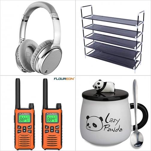 [Amazon折扣碼] 藍芽無線主動消噪耳機, 五層鞋架, Walkie Talkies對講機, 熊猫含蓋咖啡杯 額外折扣!