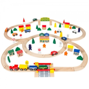 ihocon: 100pc Hand Crafted Wooden Train Set Triple Loop Railway Track Kids Toy Play Set 手工木製火車組
