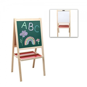 ihocon: MyGift Kids Deluxe Wooden Dry Erase Whiteboard w/ Art Supply Trays (Used - Like New)
