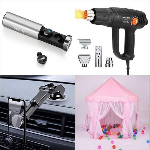 [Amazon折扣碼] 真無線耳機, Hot Air Heat Gun 電熱槍, 吸盤式手機固定架, 公主遊戲帳 額外折扣!