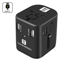 ihocon: Universal Travel Power Adapter - 4 Smart Power USB Charging Ports, for US, UK, Europe, AUS & Asia 萬用旅行插座