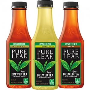 ihocon: Pure Leaf Iced Tea, Unsweetened Variety Pack, Real Brewed Tea, 0 Calories, 18.5 Ounce Bottles (Pack of 12)