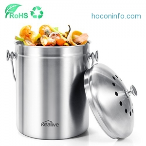 ihocon: Kealive Kitchen Compost Bin, 1.3 Gallon 廚餘桶