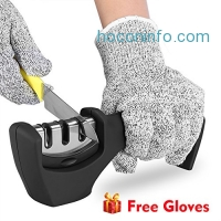 ihocon: Ejoyous Kitchen Knife Sharpener with Cut Resistant Gloves