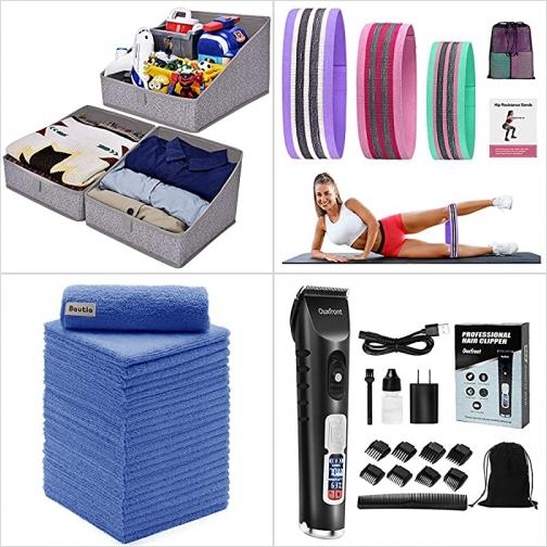 [Amazon折扣碼] 衣物收納盒, 彈性健身帶, Microfiber清潔抺布, 無線電動理髮器 額外折扣!