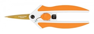 ihocon: Fiskars 190520-1001 Titanium Micro-Tip Easy Action Scissors, 5 Inch, Orange 自動打開省力剪刀