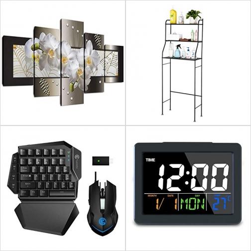[Amazon折扣碼] 五片式壁畫, 金屬馬桶置物架, 遊戲機用鍵盤及滑鼠, 鬧鐘 額外折扣!