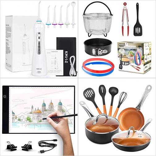 [Amazon折扣碼] 無線沖牙機, 壓力鍋配件, Light Box繪圖LED燈板, 不沾鍋組 額外折扣!