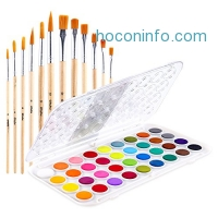 ihocon: 36-color Ohuhu Watercolor Set + 12 Paintbrushes