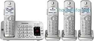 ihocon: Panasonic KX-TGE474S Link2Cell Bluetooth Cordless Phone with Answering Machine- 4 Handsets