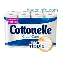 ihocon: Cottonelle CleanCare Family Roll Toilet Paper (Pack of 36 Rolls), Bath Tissue, Ultra Soft Toilet Paper Rolls with Clean Ripple Texture, Sewer and Septic Safe