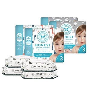 ihocon: The Honest Company Super Duper Club Box with True Absorb Diapers & 288ct Designer Wipes, Pandas & Safari, Size 3, 108 Count 尿片/濕巾組(含108片size 3尿片及288張濕巾)