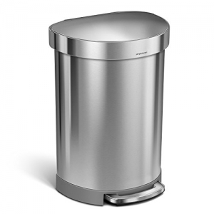 ihocon: simplehuman 60 Litre / 16 Gallon Semi-Round Kitchen Step Trash Can with Liner Rim Brushed Stainless Steel, 60 L (16 Gal) 不銹鋼垃圾筒
